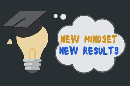 Handwriting text New Mindset New Results. Conceptual photo obstacles are opportunities to reach achievement 3D Graduation Cap Thinking Resting on Bulb with Blank Cloud Thought Bubble 版權商用圖片