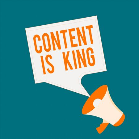 Writing note showing Content Is King. Business concept for believe that content is central to the success of a website Megaphone and Blank Bordered Square Speech Bubble Public Announcement