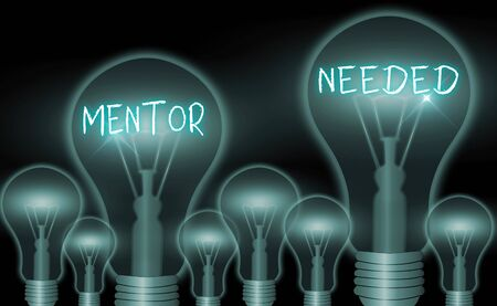 Writing note showing Mentor Needed. Business concept for wanted help for more experienced or more knowledgeable an individual Stockfoto