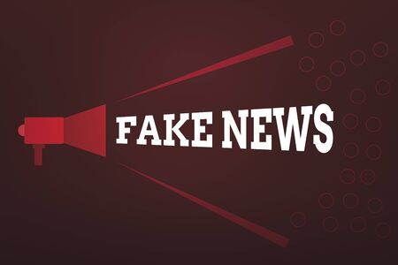 Word writing text Fake News. Business photo showcasing false information publish under the guise of being authentic news Megaphone Extending Loudness and Volume Range for Public Announcement Stock Photo