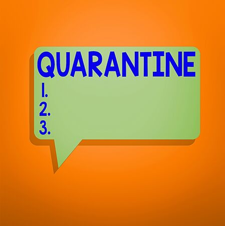 Conceptual hand writing showing Quarantine. Concept meaning restraint upon the activities of an individual or the transport of goods Speech Bubble in Solid Color Circular Text Space with Tail
