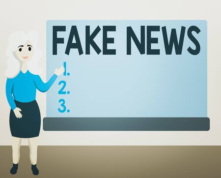Writing note showing Fake News. Business concept for false information publish under the guise of being authentic news Female Hu analysis Presenting Rectangular Blank Whiteboard