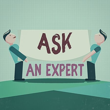 Writing note showing Ask An Expert. Business concept for consult someone who has skill about something or knowledgeable Two Men Standing Carrying Rectangular Blank Panel Board on Both Sides