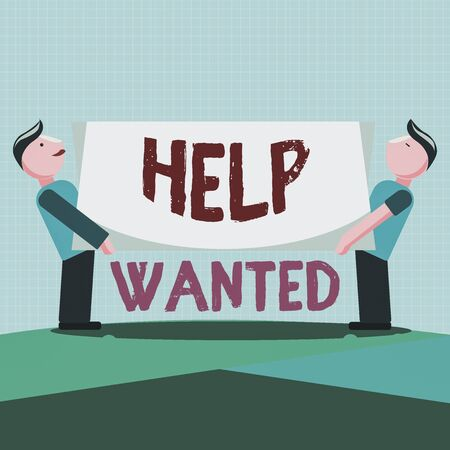 Writing note showing Help Wanted. Business concept for An ad in the paper an employer places to find a new employee Two Men Standing Carrying Rectangular Blank Panel Board on Both Sides