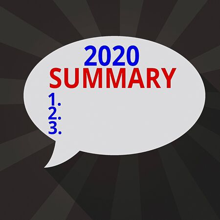 Handwriting text writing 2020 Summary. Conceptual photo brief comprehensive especially covering the main points of 2020 Blank Oval Shape Speech Bubble in solid Color and shadow Burst background 版權商用圖片