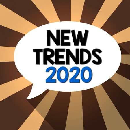 Text sign showing New Trends 2020. Business photo showcasing general direction in which something is developing Blank Oval Shape Speech Bubble in solid Color and shadow Burst background