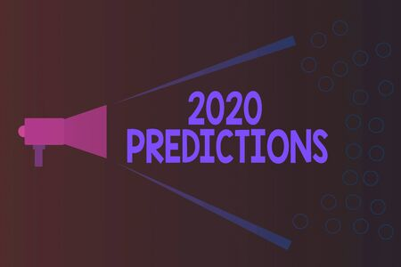 Writing note showing 2020 Predictions. Business concept for statement about what you think will happen in 2020 Megaphone Extending Loudness and Volume Range for Public Announcement