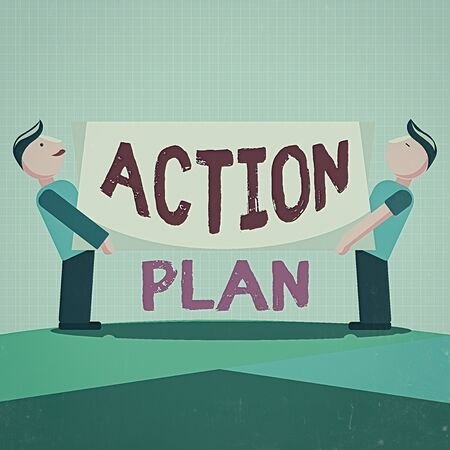Writing note showing Action Plan. Business concept for detailed plan outlining actions needed to reach goals or vision Two Men Standing Carrying Rectangular Blank Panel Board on Both Sides