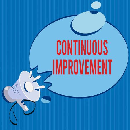 Text sign showing Continuous Improvement. Business photo showcasing ongoing effort to improve products or processes Megaphone with Sound Effect icon and Blank Round Halftone Thought Bubble