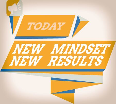 Word writing text New Mindset New Results. Business photo showcasing obstacles are opportunities to reach achievement Quadrangular Abstract Shape Formation Horizontal Graphic Outline Megaphone
