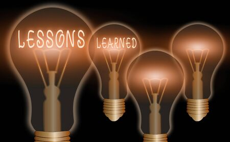 Text sign showing Lessons Learned. Business photo text the knowledge or understanding gained by experience Banque d'images