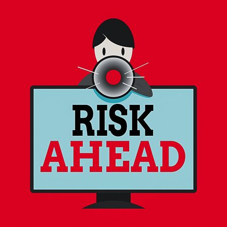 Writing note showing Risk Ahead. Business concept for A probability or threat of damage, injury, liability, loss Man Behind mounted PC Monitor Talking and Holding Megaphone