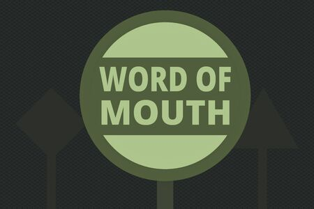Writing note showing Word Of Mouth. Business concept for information that is transmitted without being written down Three Blank Safety Road signs One lighted and two dark Street Signage 免版税图像