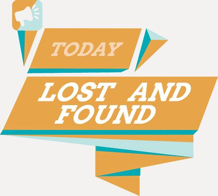 Word writing text Lost And Found. Business photo showcasing a place where lost items are stored until they reclaimed Quadrangular Abstract Shape Formation Horizontal Graphic Outline Megaphone