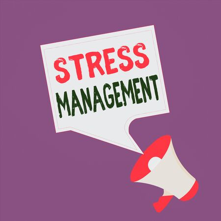 Text sign showing Stress Management. Business photo text method of limiting stress and its effects by learning ways Megaphone and Blank Bordered Square Speech Bubble Public Announcement