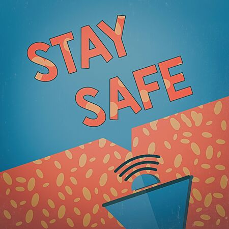 Writing note showing Stay Safe. Business concept for secure from threat of danger, harm or place to keep articles Megaphone Halftone with Sound icon and Blank Geometric Speech Bubble
