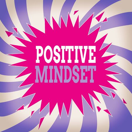 Writing note showing Positive Mindset. Business concept for mental attitude in wich you expect favorable results Blank Exploding Cracking Breaking Speech Bubble Sound Effect on Burst Archivio Fotografico