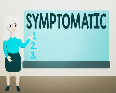 Writing note showing Symptomatic. Business concept for serving as symptom or sign especially of something undesirable Female Hu analysis Presenting Rectangular Blank Whiteboard