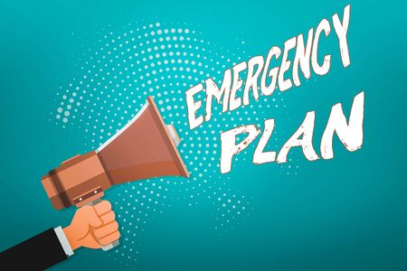 Word writing text Emergency Plan. Business photo showcasing instructions that outlines what workers should do in danger Male Hu analysis Hand Holding Gripping a Megaphone on Dotted Halftone Pattern