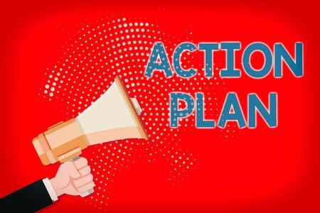 Writing note showing Action Plan. Business concept for detailed plan outlining actions needed to reach goals or vision Male Hu analysis Hand Holding Megaphone on Halftone Pattern