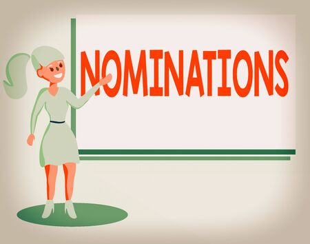 Text sign showing Nominations. Business photo showcasing the act of officially suggesting someone for a job or position Wo analysis Standing Talking Hand Presenting Audio Visual Blank Projector Screen