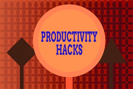 Handwriting text writing Productivity Hacks. Conceptual photo tricks that you get more done in the same amount of time Three Blank Safety Road signs One lighted and two dark Street Signage