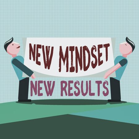 Writing note showing New Mindset New Results. Business concept for obstacles are opportunities to reach achievement Two Men Standing Carrying Rectangular Blank Panel Board on Both Sides