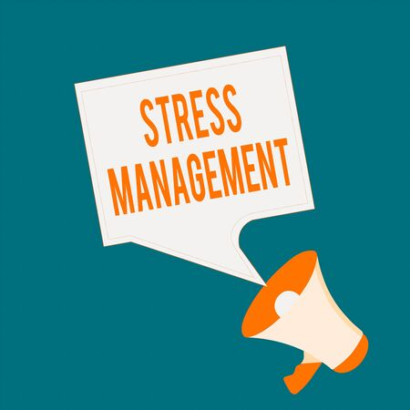 Writing note showing Stress Management. Business concept for method of limiting stress and its effects by learning ways Megaphone and Blank Bordered Square Speech Bubble Public Announcement