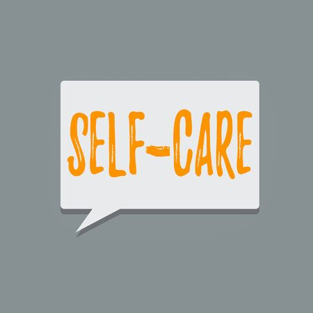 Handwriting text Self Care. Conceptual photo the practice of taking action to improve one s is own health Blank Rectangular shape Halftone Speech Bubble in solid color Text space