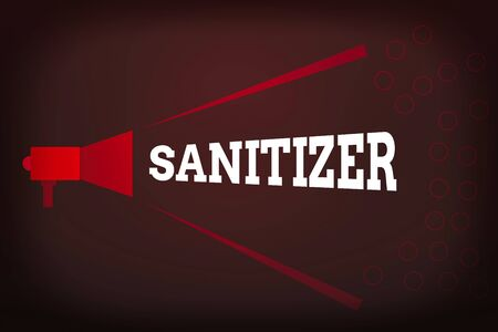 Word writing text Sanitizer. Business photo showcasing liquid or gel generally used to decrease infectious agents Megaphone Extending Loudness and Volume Range for Public Announcement Stock Photo
