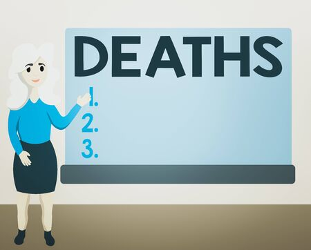 Writing note showing Deaths. Business concept for permanent cessation of all vital signs, instance of dying individual Female Hu analysis Presenting Rectangular Blank Whiteboard Foto de archivo