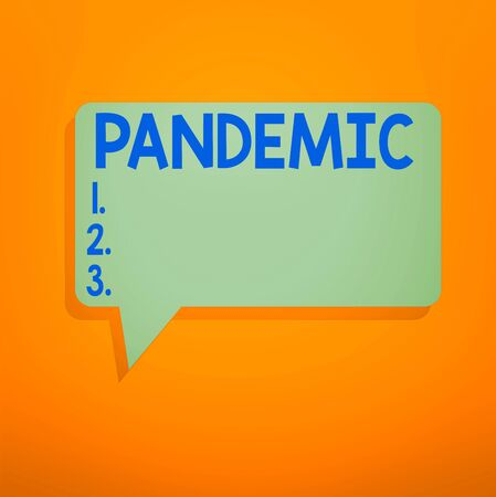 Conceptual hand writing showing Pandemic. Concept meaning occurring over a wide area affecting high proportion of population Speech Bubble in Solid Color Circular Text Space with Tail