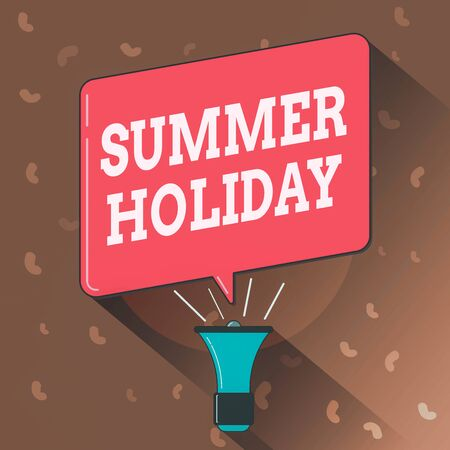 Conceptual hand writing showing Summer Holiday. Concept meaning special period of time in summer for relaxation and fun Megaphone Louder Handheld Amplifier and Blank Speech Bubble