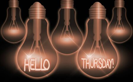 Writing note showing Hello Thursday. Business concept for a positive message as the Friday s is herald passes by