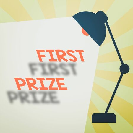 Writing note showing First Prize. Business concept for most coveted prize that is only offered to the overall winner Table Pendant Lampshade Adjustable with Light Beam Ray space for Text