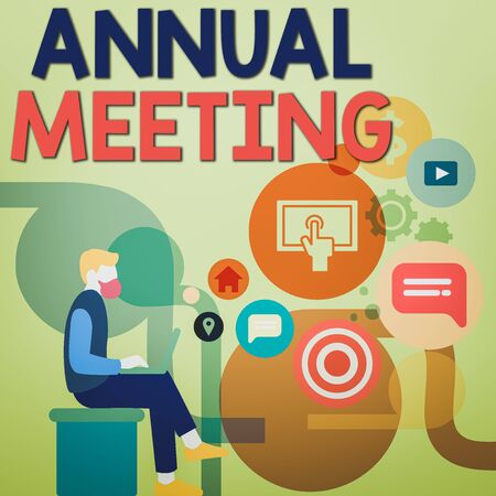 Word writing text Annual Meeting. Business photo showcasing scheduled annually for the discussion of the business future Man Sitting Down with Laptop on his Lap and SEO Driver Icons on Blank Space