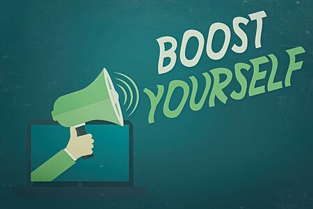Word writing text Boost Yourself. Business photo showcasing delivering a lift up to someone making them energetic again Hu analysis Hand Coming out of PC Monitor Holding Megaphone with Volume Icon Stock Photo