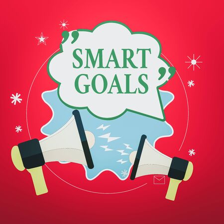 Handwriting text Smart Goals. Conceptual photo mnemonic used as a basis for setting objectives and direction Blank Speech Bubble with Quotation Mark Two Megaphones shouting and Arguing