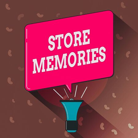 Conceptual hand writing showing Store Memories. Concept meaning a process of inputting and storing data previously acquired Megaphone Louder Handheld Amplifier and Blank Speech Bubble