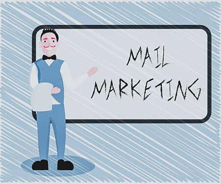 Text sign showing Mail Marketing. Business photo showcasing sending a commercial message to build a relationship with a buyer Male Waiter Smiling Standing in Uniform Hand Presenting Blank Menu Board Stock Photo