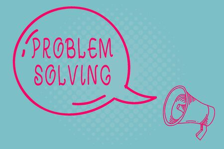 Writing note showing Problem Solving. Business concept for having a good capability of finding a solution to an issue Transparent Speech Bubble Shining icon and Outline Megaphone Banque d'images