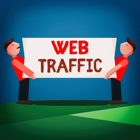 Handwriting text Web Traffic. Conceptual photo amount of web users and attempted visit measured of a website Two Men Standing Carrying Rectangular Blank Panel Board on Both Sides