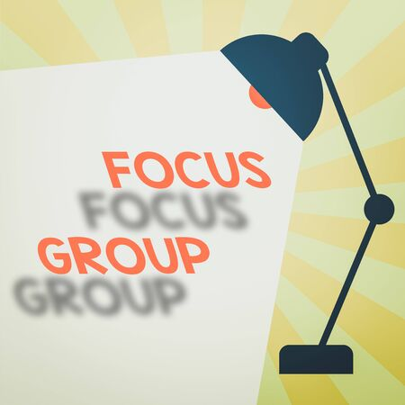 Writing note showing Focus Group. Business concept for consist of carefullyselected participants to provide feedback Table Pendant Lampshade Adjustable with Light Beam Ray space for Text