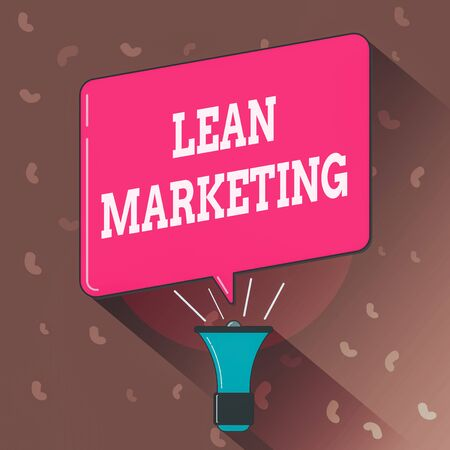 Conceptual hand writing showing Lean Marketing. Concept meaning in charge of testing retailing strategy and spot which works expertly Megaphone Louder Handheld Amplifier and Blank Speech Bubble