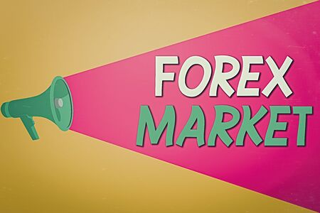 Text sign showing Forex Market. Business photo text global business and finance economic trends trading on the currency Halftone Megaphone Loudspeaker with Volume Capacity Extend Loudness Level Stock Photo