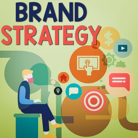Word writing text Brand Strategy. Business photo showcasing longterm plan executed for the development of a good product Man Sitting Down with Laptop on his Lap and SEO Driver Icons on Blank Space