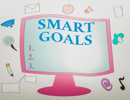 Writing note showing Smart Goals. Business concept for mnemonic used as a basis for setting objectives and direction Web Application Software icons Surrounding Computer Monitor