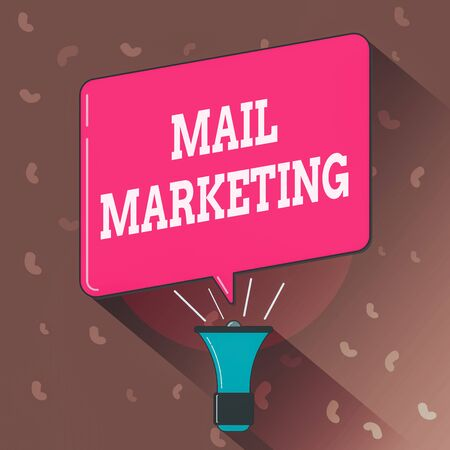 Conceptual hand writing showing Mail Marketing. Concept meaning sending a commercial message to build a relationship with a buyer Megaphone Louder Handheld Amplifier and Blank Speech Bubble