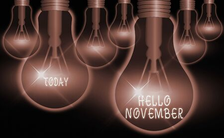 Word writing text Hello November. Business photo showcasing greeting used when welcoming the eleventh month of the year