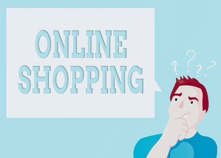 Conceptual hand writing showing Online Shopping. Concept meaning ecommerce which let the consumer buy goods using the Internet Man Expressing Hand on Mouth Question Mark icon Text Bubble Stock Photo